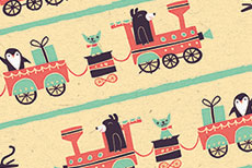 Angela Navarra Illustration - angela, nevarra, licensing, digital, photoshop, illustrator, repeat pattern, surface pattern design, gift wrap, wrapping paper, christmas, xmas, festive, holidays, gifts, presents, train, bear, penguins, cat, season