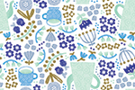Cristina De Lera Illustration - cristina, de lera, digital, photoshop, postcard, illustrator, colourful, bright, licensing, repeat pattern, gift wrap, wrapping paper, repeat pattern, pattern, floral, flowers, petals, leaves, design, tea, teapot, teacup