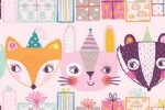 Katy Halford Illustration - katy, halford, digital, photoshop, illustrator, trend, fun, young, bright, repeat pattern, sample, gift wrap, wrapping paper, presents, animals, cute, sweet, young, rabbit, fox, badger, bear, hats, part, happy, birthday,