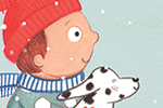 Claire Shorrock Illustration - claire, shorrock, licensing, illustration, handdrawn, card, card design, digital, text, mouse, animal, cute, sweet, boy, child, spotty dog, seasonal, christmas, sledge, slay, snow, weather, pattern