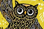 Erin Balzer Illustration - erin, balzer, erin balzer, wood printing, wood cutting, printing, licensing, card, greetings,owls, night, dark, moon, stars, wings, flying,