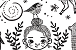 Erin Balzer Illustration - erin, balzer, erin balzer, licensing,  wood printing, wood cutting, printing, licensing, card, fox, pattern, decorative, animal, girl, robin, llama, unicorn, penguin, foliage, leaves, black and white, b & w, stars,