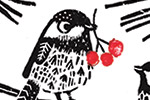 Erin Balzer Illustration - erin, balzer, erin balzer, licensing, wood printing, wood cutting, printing, licensing, card, pattern, decorative, birds, animal, christmas, festive, seasonal, berries, trees, robin, cute