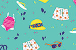 Eglantine Ceulemans Illustration - eglantine, ceulemans, digital, photoshop, wrap, wrapping paper, repeat pattern, detail, fun, summer, beach, holiday, basket, bag, swimming, suit, sun, glasses, shorts, sunglasses, flip-flops, sandals, hat, graphic, trend