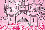 Emily Hamilton Illustration - emily, hamilton, emily hamilton, digital, photoshop, illustrator, post card, greetings card, licensing, art licensing, texture, castle, fairytale, pink, princess, fantasy, story, flowers, clouds, sky, disney, disney castle,