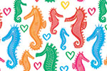 Jo Rooks Illustration - jo, rooks, watercolour, paint, photoshop, digital, painterly, graphic, colourful, repeat pattern, gift wrap, wrapping paper, sea, ocean, seahorse, animals, young