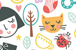Katy Halford Illustration - katy, halford, digital, photoshop, illustrator, trend, fun, young, bright, repeat pattern, sample, gift wrap, wrapping paper, faces, people, cats, flowers, boot, shoe, camera, dress, girl, tea, pot,