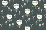 Katy Halford Illustration - katy, halford, digital, photoshop, illustrator, trend, fun, young, bright, repeat pattern, sample, gift wrap, wall paper, wall covering, wrapping paper, floral, flowers, dark, white, blossom, leaves,