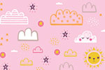 Katy Halford Illustration - katy, halford, digital, photoshop, illustrator, trend, fun, young, bright, repeat pattern, sample, gift wrap, wrapping paper, floral, flowers,wall paper, wall covering, clouds, weather, faces, sun, detailing, young, sweet, cute, pink, pretty
