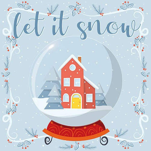 Ana Garcia Illustration - ana, garcia, ana garcia, digital, han drawn, photoshop, postcard, illustrator, colourful, bright, greetings card, greeting, stationary, pattern, cute, sweet, christmas, festive, seasonal, house, home, snow, snowing, snow globe, let it snow, text, words,