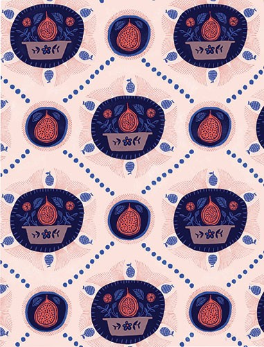 Angela Navarra Illustration - angela, nevarra, licensing, digital, repeat pattern, surface pattern design, gift wrap, wrapping paper, print, pomegranate, fruit, bowl, homeware, trend