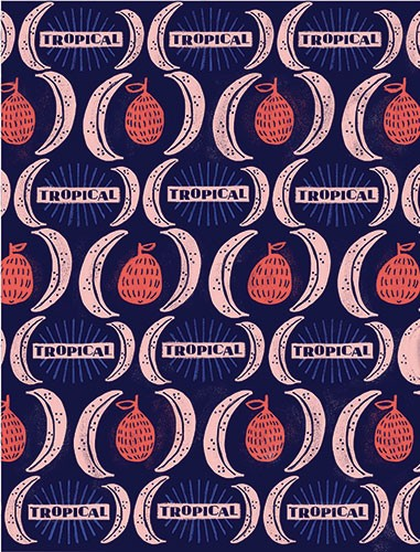 Angela Navarra Illustration - angela, nevarra, licensing, digital, repeat pattern, surface pattern design, tropical, gift wrap, wrapping paper, print, pomegranate, fruit, bold, graphic, trend