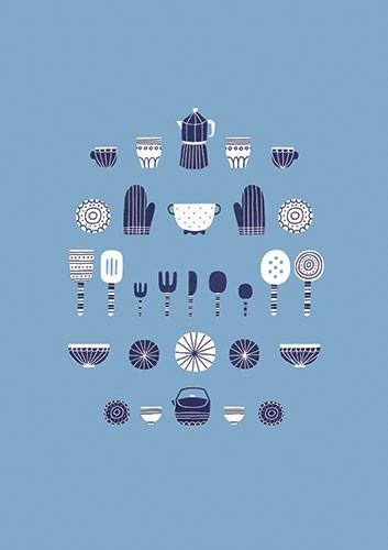 Cristina De Lera Illustration - cristina, de lera, digital, photoshop, illustrator, colourful, bright, licensing, repeat pattern, gift wrap, wrapping paper, print, cooking, kitchen, utensils, homeware, plates, mugs, oven gloves, forks, spoons, knives, cutlery