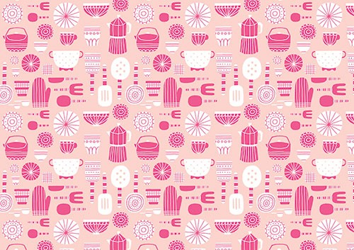 Cristina De Lera Illustration - cristina, de lera, digital, photoshop, illustrator, colourful, bright, licensing, repeat pattern, gift wrap, wrapping paper, print, cooking, kitchen, utensils, homeware, plates, mugs, oven gloves, forks, spoons, knives, cutlery, pink