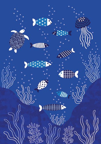 Cristina De Lera Illustration - cristina, de lera, digital, photoshop, postcard, illustrator, colourful, bright, licensing, repeat pattern, gift wrap, wrapping paper, ocean, aquatic, under water, sea, fish, beach, sea weed,