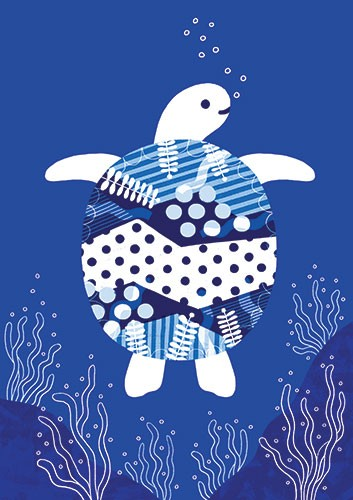 Cristina De Lera Illustration - cristina, de lera, digital, photoshop, postcard, illustrator, colourful, bright, licensing, repeat pattern, gift wrap, wrapping paper, ocean, aquatic, under water, sea, fish, turtle, pattern, texture, sea weed,