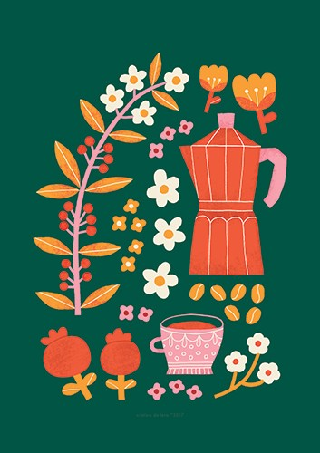 Cristina De Lera Illustration - cristina, de lera, digital, photoshop, postcard, illustrator, colourful, bright, licensing, repeat pattern, gift wrap, wrapping paper, floral, flowers, design, pattern, leaves, petals, blossom, colourful, colour, teacup, tea, teapot