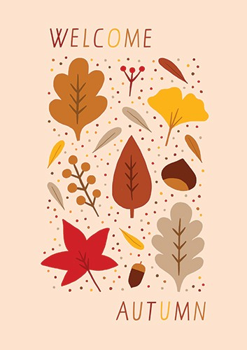 Cristina De Lera Illustration - ristina, de lera, digital, photoshop, postcard, illustrator, colourful, bright, licensing, gift wrap, wrapping paper, design, autumn, autumnal, leaves, blossom, petals