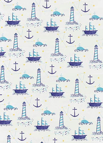 Ciara Ni Dhuinn Illustration - ciara, de dhuinn, licensing, digital, photoshop, illustrator, repeat pattern, gift wrap, wrapping paper, wallpaper, wall covering, nautical, ocean, lighthouse, anchor, sailor, whale, stars, constellation, young