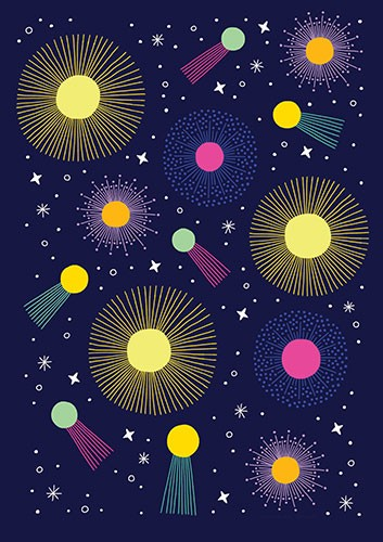 Cristina De Lera Illustration - cristina, de lera, digital, photoshop, postcard, illustrator, colourful, bright, licensing, fireworks, magical, patter, repeat, stars, sparkles, sparks, light, seasonal, festive, celebration, celebrate, repeating pattern, gift wrap,