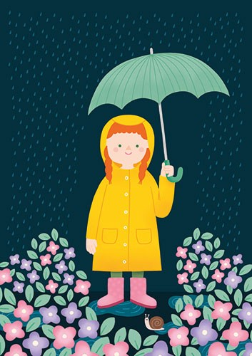 Cristina De Lera Illustration - cristina, de lera, digital, photoshop, postcard, illustrator, colourful, bright, licensing, girl, umbrella, smile, rain, weather, coat, flowers, floral, cute, sweet, seasonal,