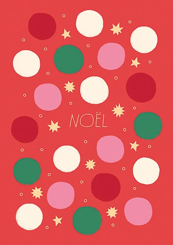 Cristina De Lera Illustration - cristina, de lera, cristina de lera, digital, photoshop, postcard, illustrator, colourful, bright, licensing, christmas, festive, seasonal, red, pink, green, noel, card, pattern, repeating pattern, repeat, stars, gift wrap, dots, polka dots,