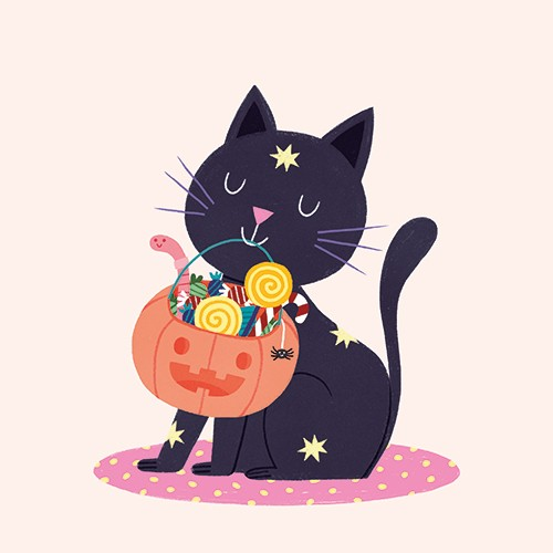 Cristina De Lera Illustration - cristina, de lera, cristina de lera, illustration, digital, mass market, trade, colourful, picture books, young reader, colour, photoshop, halloween, spooky, cat, trick or treat, seasonal, autumn, fall, festive, pet, candy, pumpkin, sweets, lollipops, fun