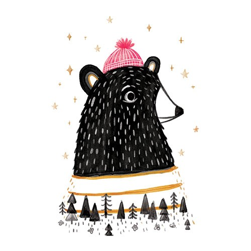 Ciara Ni Dhuinn Illustration - ciara, de dhuinn, licensing, digital, photoshop, illustrator, painterly, watercolour, greetings card, postcard, holly hat,  character, animals, trees, woods, wildlife, bear, hat, winter, cold, spot colour,