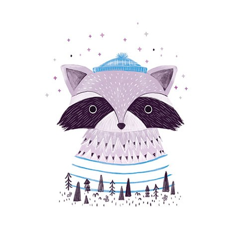 Ciara Ni Dhuinn Illustration - ciara, de dhuinn, licensing, digital, photoshop, illustrator, painterly, watercolour, greetings card, postcard, wooly hat, character, animals, racoon, woods, trees