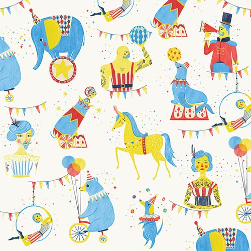 Ciara Ni Dhuinn Illustration - ciara, de dhuinn, licensing, digital, photoshop, illustrator, repeat pattern, gift wrap, wrapping paper, wallpaper, wall covering, circus, elephant, horse, canon, man, woman, bright, bold, graphic
