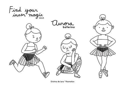 Cristina De Lera Illustration - cristina, de lera, cristina de lera, digital, photoshop, postcard, illustrator, black and white, b and w, licensing, child, girl, ballerina, dancing, magic