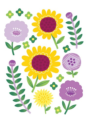 Cristina De Lera Illustration - cristina, de lera, cristina de lera, digital, photoshop, postcard, illustrator, colourful, bright, licensing, flowers, floral, sunflowers, pretty, cute, leaves, purple, buttons, pattern