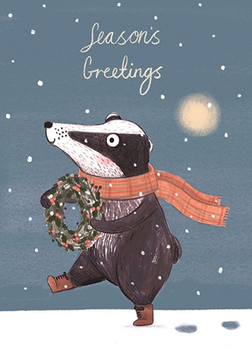 Claire Shorrock Illustration - claire, shorrock, licensing, illustration, handdrawn, card, card design, digital, text, badger, animal, snow, weather, cute, sweet, pattern