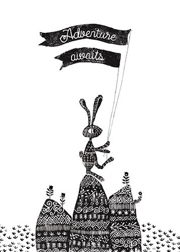 Erin Balzer Illustration - erin, balzer, erin balzer, b&w, black & white, wood printing, wood cutting, printing, licensing, card, greetings, adventure, awaits, holiday, trip, travel, rabbit, bunny, flags