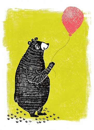 Erin Balzer Illustration - erin, balzer, erin balzer, wood printing, wood cutting, printing, licensing, card, happy, balloon, birthday, bear, character, pattern,