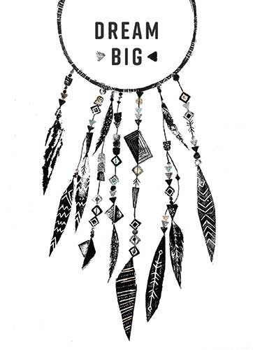 Erin Balzer Illustration - erin, balzer, erin balzer, b&w, black & white, wood printing, wood cutting, printing, licensing, card, greetings, dream catcher, dream, big, adventure, feathers, boho, beads, jewels,