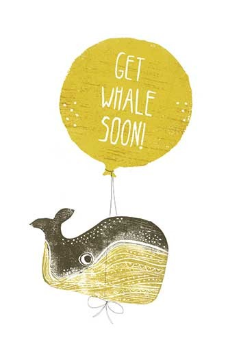 Erin Balzer Illustration - erin, balzer, erin balzer, wood printing, wood cutting, printing, licensing, card, greetings, get well soon, ill, unwell, whale, balloon, humour, funny