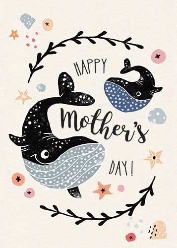 Erin Balzer Illustration - erin, balzer, erin balzer, wood printing, wood cutting, printing, licensing, card, greetings, typography, mothers day, happy, mum, mom, mummy, whales, decorative, detail, star fish