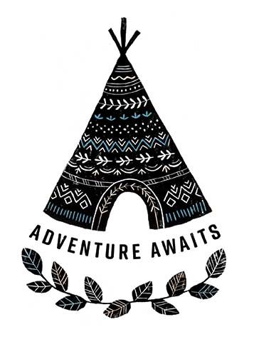 Erin Balzer Illustration - erin, balzer, erin balzer, b&w, black & white, wood printing, wood cutting, printing, licensing, card, greetings, tent, teepee, festival, adventure, awaits, travel, boho, pattern, leaves,