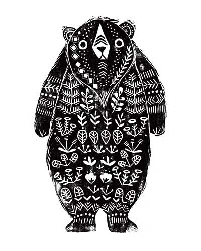 Erin Balzer Illustration - erin, balzer, erin balzer, wood printing, wood cutting, printing, licensing, card, bear, animal, wall covering, sticker, postcard, greetings card