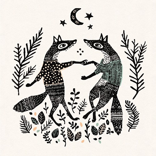 Erin Balzer Illustration - erin, balzer, erin balzer, wood printing, wood cutting, printing, licensing, card, fox, pattern, decorative, animal