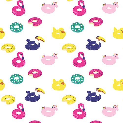Eglantine Ceulemans Illustration - eglantine, ceulemans, digital, photoshop, wrap, wrapping paper, repeat pattern, detail, swimming, floats, fun, graphic, sprinkles, doughnut, birds, flamingo, unicorn, colourful, humour, birthday