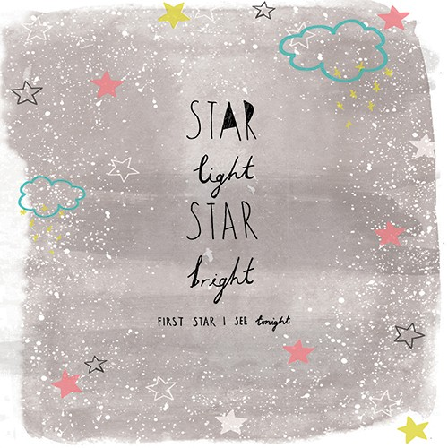 Emily Hamilton Illustration - emily, hamilton, emily hamilton, digital, photoshop, illustrator, post card, greetings card, licensing, art licensing, texture, text, stars, quote, phrase, saying, bright, light, clouds, sparkle, colourful