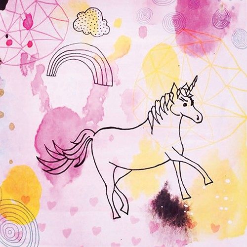 Emily Hamilton Illustration - emily, hamilton, emily hamilton, digital, photoshop, illustrator, post card, greetings card, licensing, art licensing, texture,pink, yellow, colourful, unicorn, fantasy, magic, rainbow, hand drawn, watercolour, sketch, clouds, swirls,