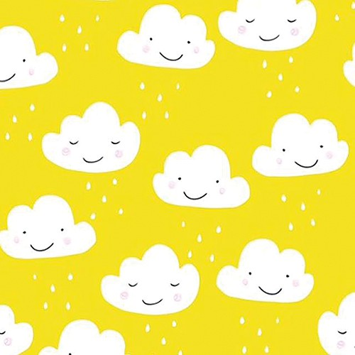 Emily Hamilton Illustration - emily, hamilton, emily hamilton, digital, photoshop, illustrator, post card, greetings card, licensing, art licensing, texture, pattern, clouds, happy, smile, rain, yellow, colourful, weather, nature