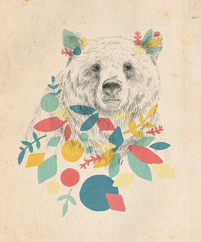 Emily Hamilton Illustration - emily, hamilton, emily hamilton, digital, photoshop, illustrator, post card, greetings card, licensing, art licensing, texture, hand drawn, black and white, b & w, bear, flowers, colourful, pencil, fine art, nature, animals, wild, leaves,