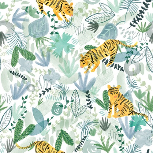 Emily Hamilton Illustration - emily, hamilton, emily hamilton, digital, photoshop, illustrator, post card, greetings card, licensing, art licensing, texture, pattern, jungle, tigers, animals, wild, leaves, plants, nature, wildlife