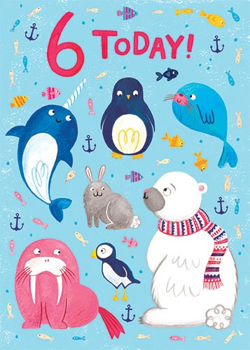 Emma Randall  Illustration - emma, randall, greetings cards, paint, painting, digital, photoshop, illustrator, birthday, card, 6, today, card, cute, sweet, young, animals, wildlife, cold, winter, anchor, hale, seal, sea, ocean, ice, waves, walrus, puffin, penguin, fish rabbitt