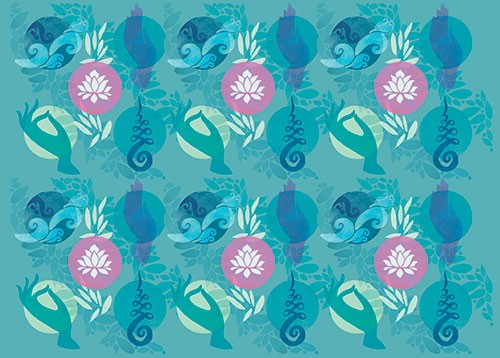Jo Rooks Illustration - jo, rooks, watercolour, paint, photoshop, digital, painterly, graphic, colourful, tropical, trend, repeat pattern, gift wrap, wrapping paper, yoga, meditation, zen, boho, eastern, lotus, flower, hand
