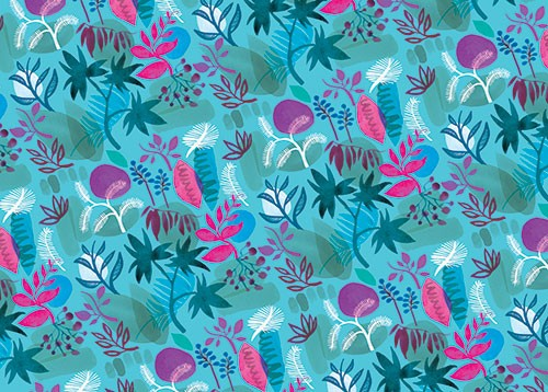 Jo Rooks Illustration - jo, rooks, watercolour, paint, photoshop, digital, painterly, graphic, colourful, tropical, trend, repeat pattern, gift wrap, wrapping paper, jungle, flowers, plants, rocks,